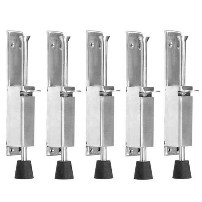 Nixnine Stainless Steel Foot Operated Floor Door Stopper with Rubber, SRNG_A-602_5PS (Pack of 5)