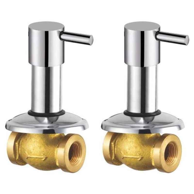 Drizzle Flora 2 Pcs 15mm Brass Chrome Finish Silver Concealed Stop Cock Set, ACON15FLORA2