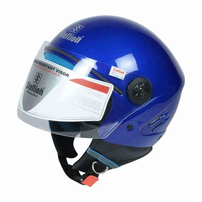 Stallion BLK K10 Open Face Royal Blue Motorbike Helmet, Size: M