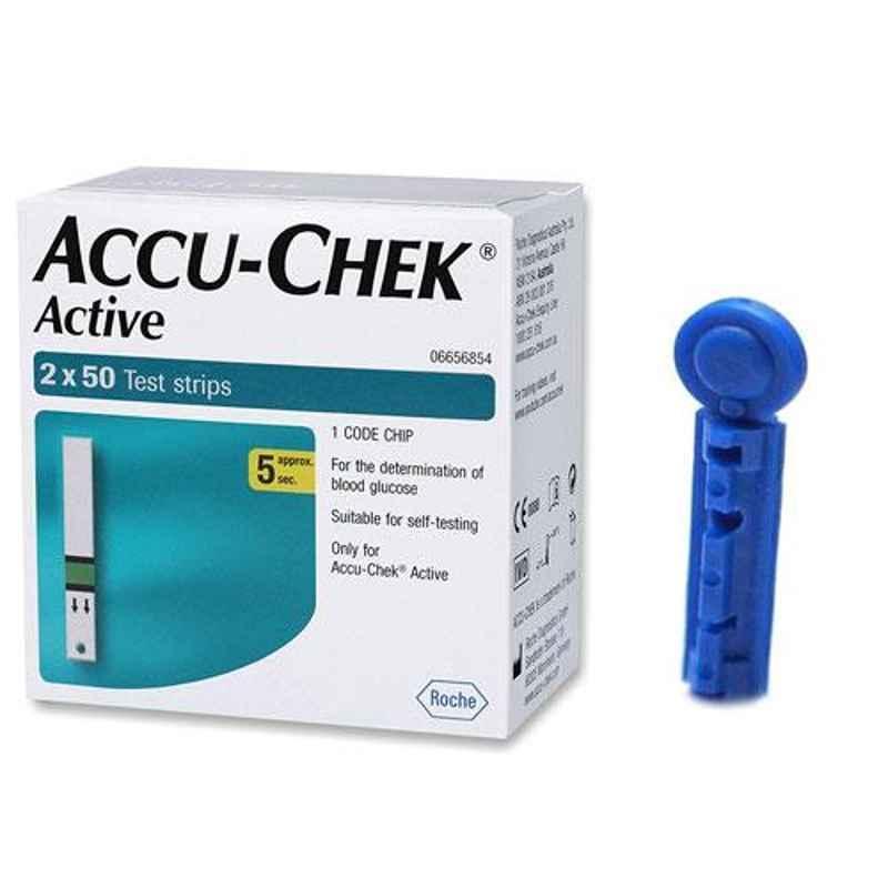 Accu-chek Active 100 Test Strips & Euroclix 25 Pcs 30 Gauge Blood Lancet Box
