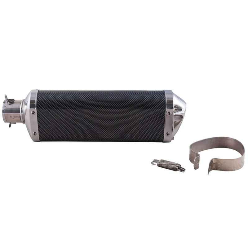 RA Accessories Black Triple Carbon Racing Silencer Exhaust for Bajaj Discover 125M