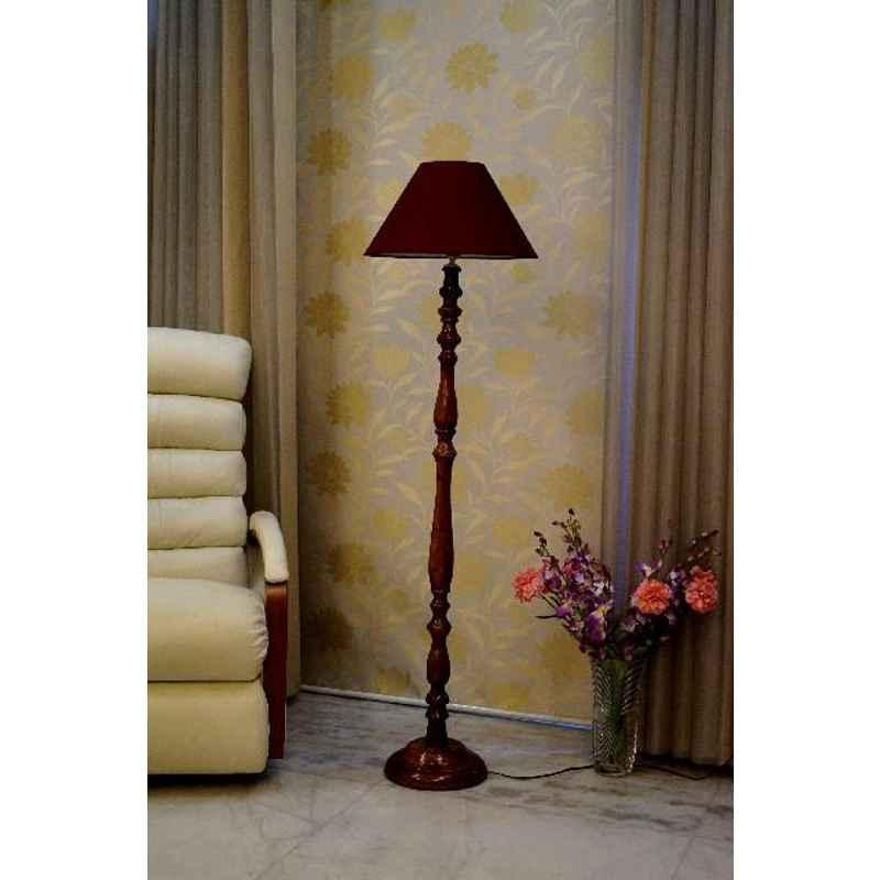 Tucasa Royal Brown Mango Wood Floor Lamp with Maroon Conical Polycotton Shade, WF-100