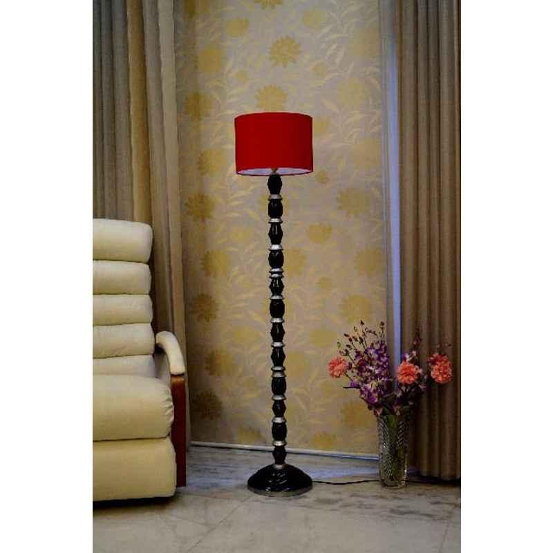 Tucasa Mango Wood Black & Silver Floor Lamp with Red Drum Polycotton Shade, WF-33