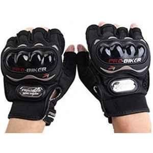 Probiker Leather Half Finger Motorcycle Gloves (Black, L), large