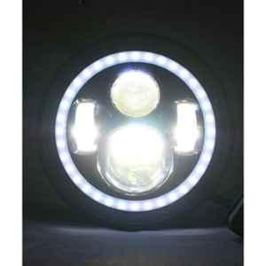 Love4ride 7 inch 45W 4 LED White & Amber Headlight with Dual DRL for Royal Enfield