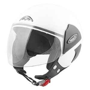 Habsolite Estilo Open Half Face Helmet With Scratch Resistant Clean Visor & Adjustable Strap For Men & Women Bike Motorcycle Scooty Riding (White, M) (Hbesw)