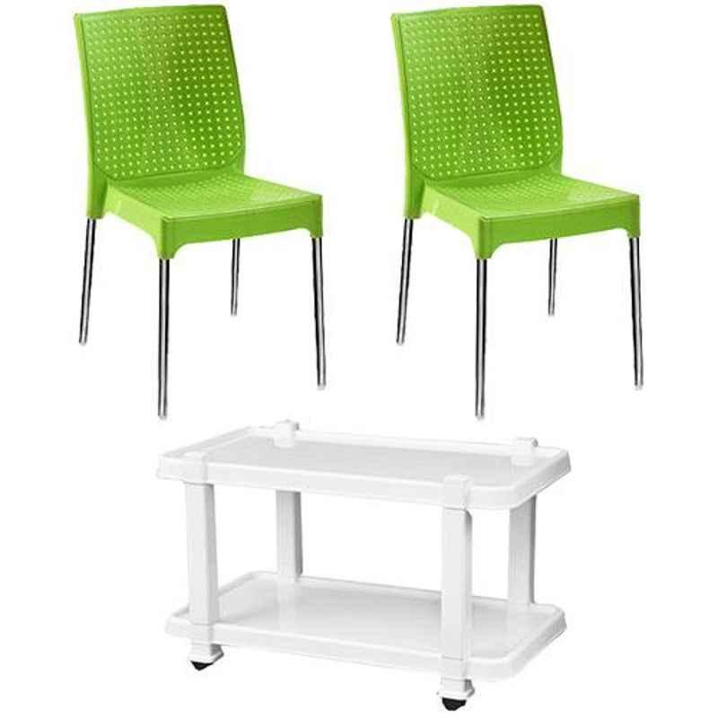 Italica 2 Pcs Polypropylene Green Plasteel without Arm Chair & White Table with Wheels Set, 1206-2/9509