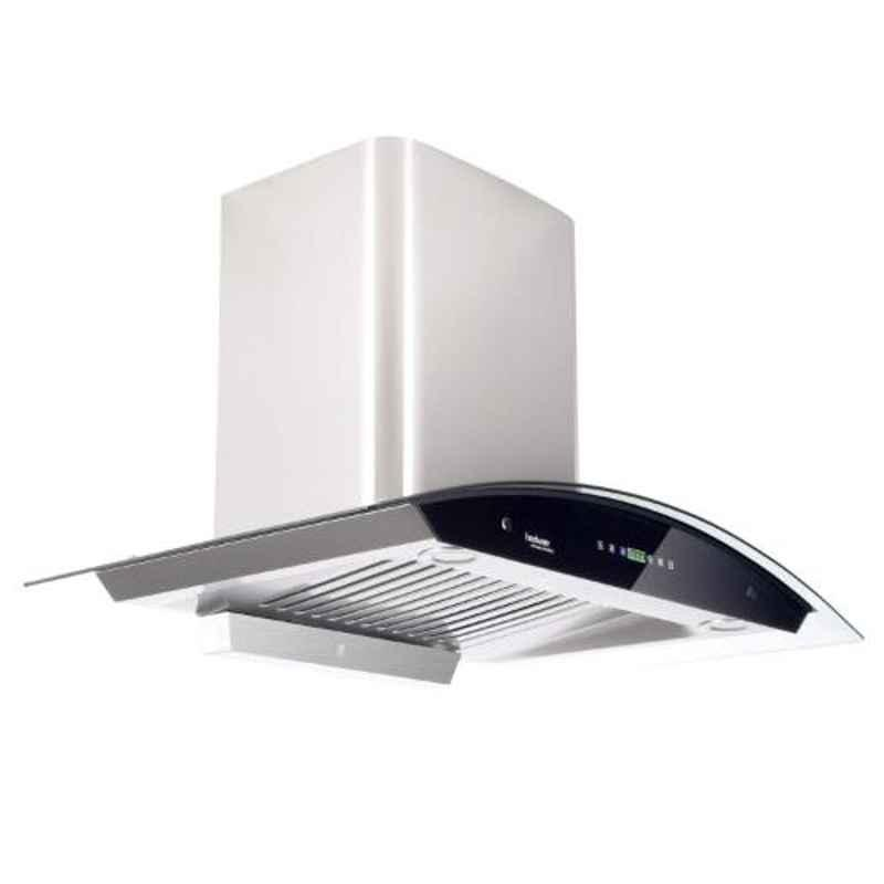 Hindware Nevio 90 Grey Auto Clean Curved Glass Chimney, 512168, Size: 90 cm