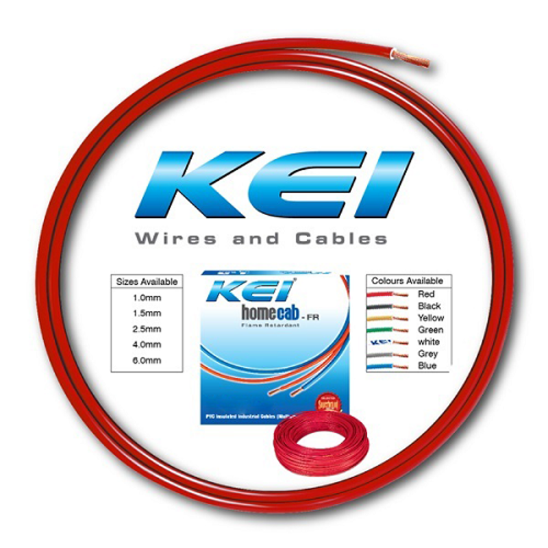 KEI 1.5 Sqmm Single Core Homecab FR Red Copper Unsheathed Flexible Cable, Length: 90 m