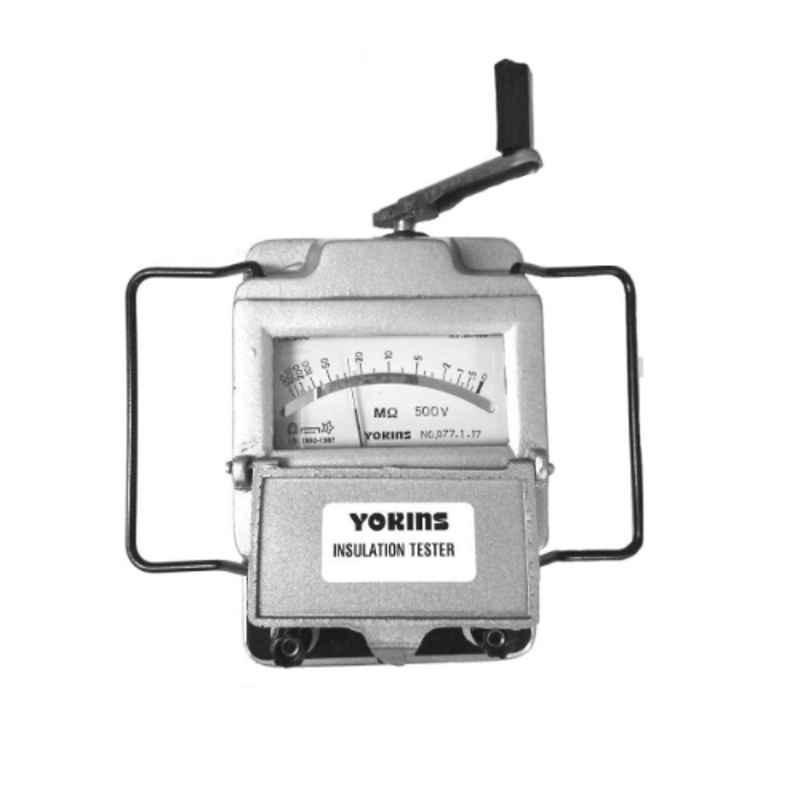 Yokins Metal 2500V Megger Hand Driven Insulation Tester, 10000 MOhms