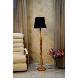 Tucasa Mango Wood Camel Floor Lamp with Black Cylindrical Polycotton Shade, WF-110