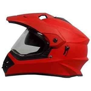 Steelbird Bang ABS Matt S.Red Motocross Helmet with P Cap, Size: (L, 600 mm)
