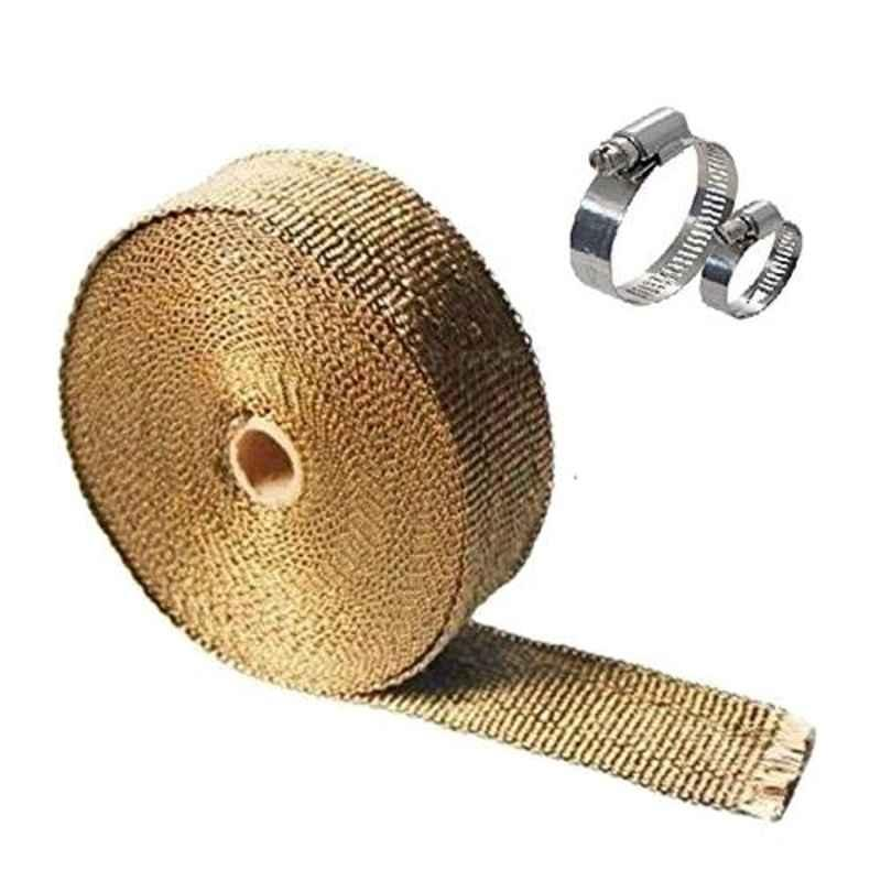 AllExtreme EXSLWCG 3m Golden Silencer Wrap Exhaust Heat Shield with Clamp