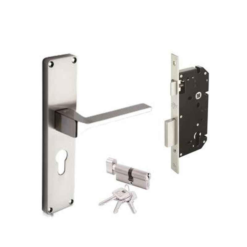 Godrej NEH 16 200mm 1CK Satin Steel Door Handle with Lock Set, 5992