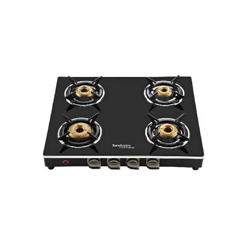 Hindware Milano GL 4B AI 4 Burner Automatic Ignition Black Glass Gas Stove