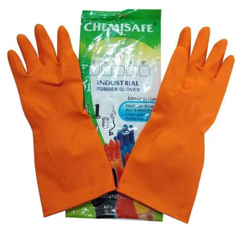 Chemisafe Orange Rubber Industrial Gloves (Pack of 3)