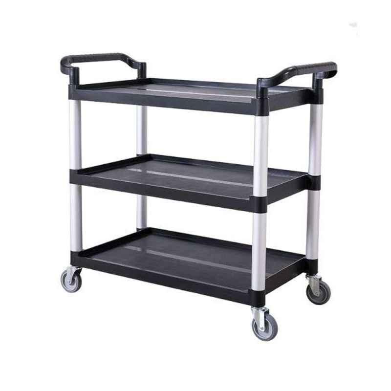 Bigapple 250kg Aluminium & Plastic Black & Grey Triple Platform Service Cart Trolley, TRL-SPH-SC-LARGE-BLACK