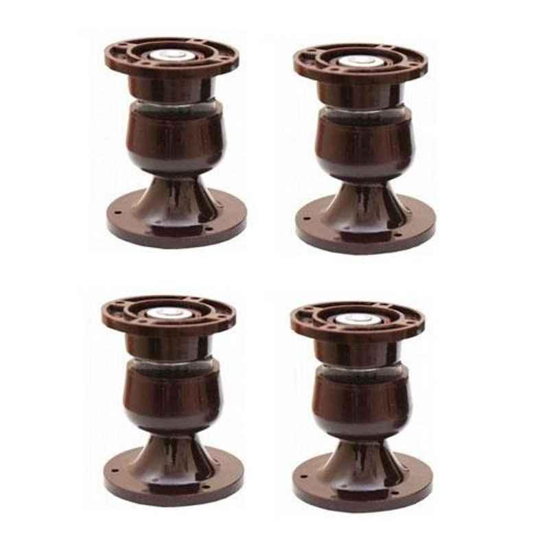Nixnine Plastic Brown Magnetic Door Stopper, NO-5_BRN_4PS_A (Pack of 4)