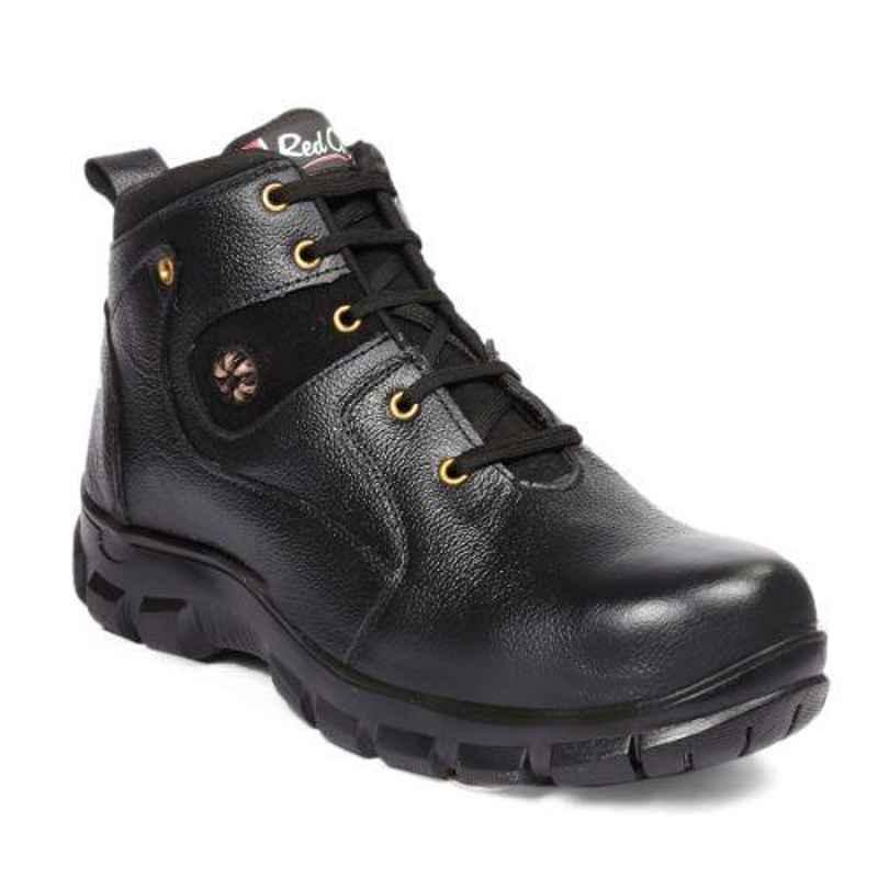 RED CAN SGE1164BLK Leather High Ankle Steel Toe Black Safety Boots, Size: 10