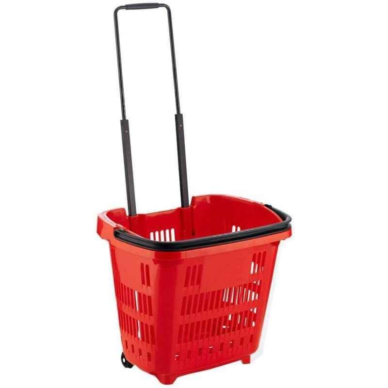 Bigapple 45L Plastic Red Shopping Basket with 2 Wheels, BA-BASKET-45L