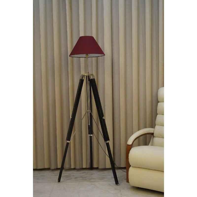 Tucasa Mango Wood Black Tripod Floor Lamp with Polycotton Maroon Shade, P-135