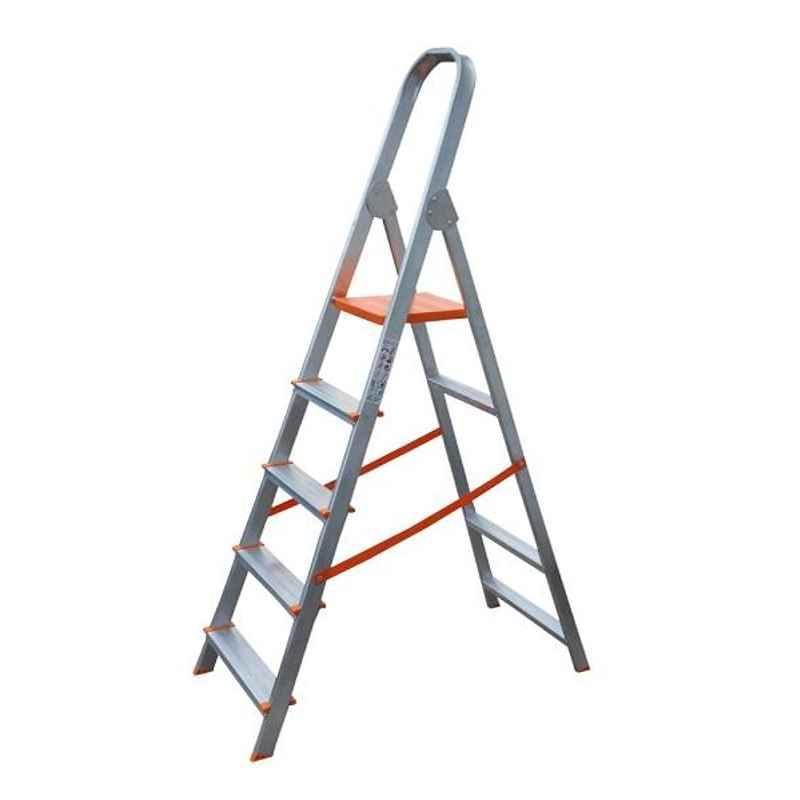 Aguerri Eco 5 Step Orange Silver Coated Aluminium Foldable Ladder with Platform, 4041