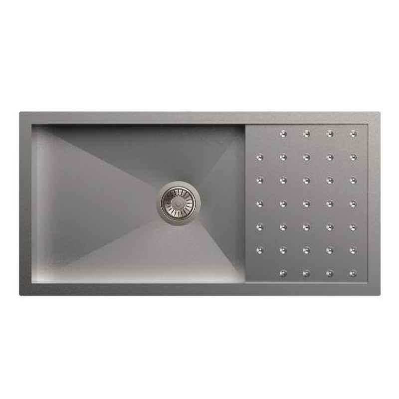 Carysil Polo Single Bowl Stainless Steel Matt Finish Kitchen Sink with Drainer, Size: 36x18x8 inch