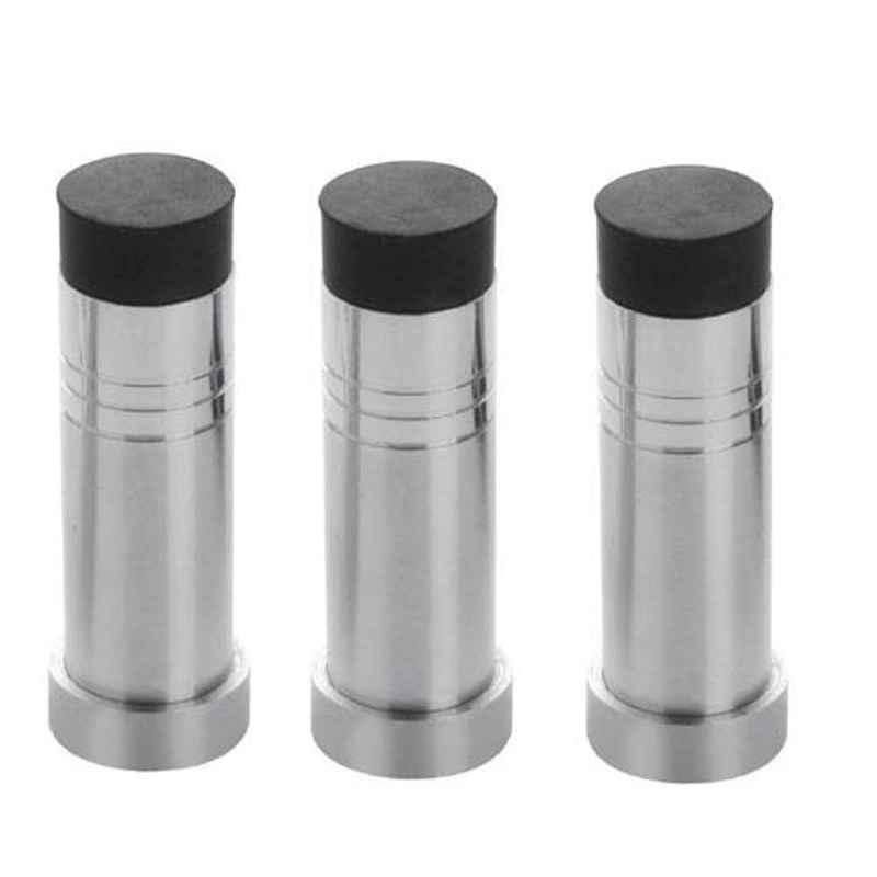 Nixnine Stainless Steel Back Silencer Door Stopper with Rubber Pad, SS_HVY_A-614_3PS (Pack of 3)