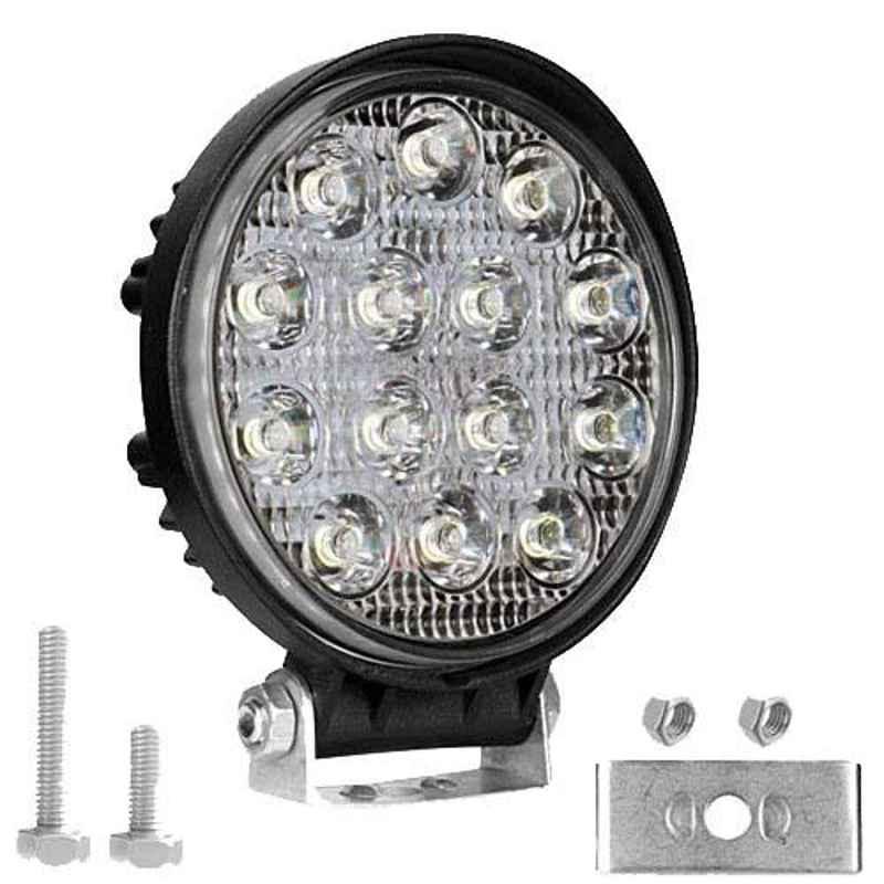 AllExtreme EX14RW1 14 LED 42W 4 inch White Round Waterproof Fog Light