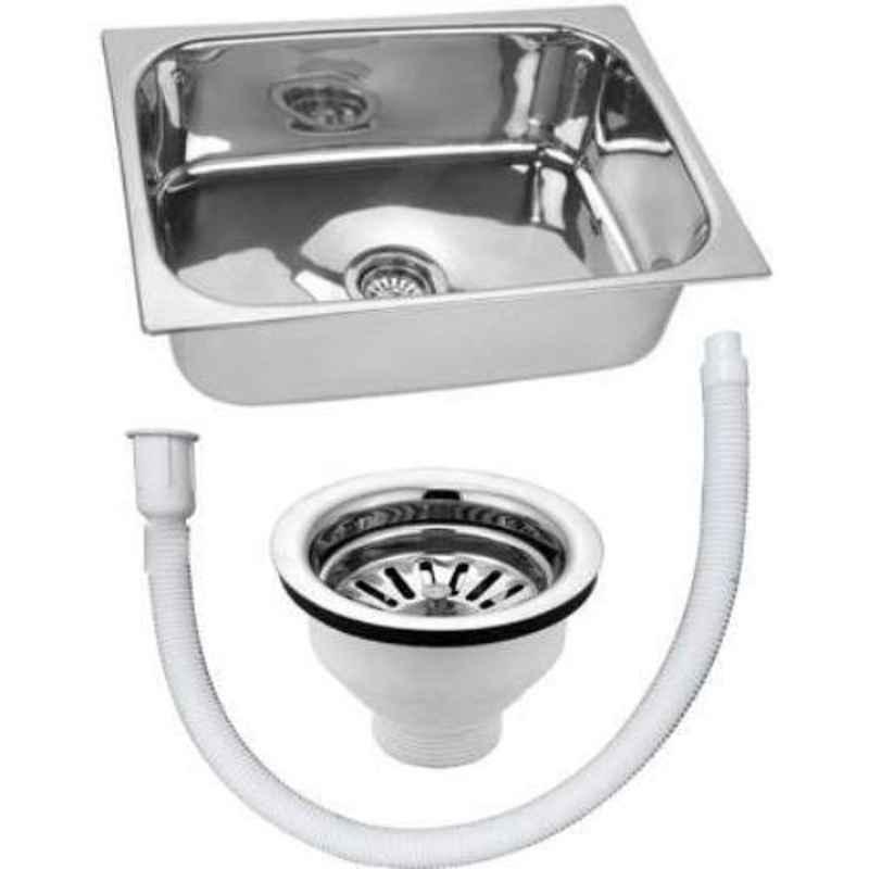 Crocodile 18x16x8 inch Hi Gloss Finish Single Bowl Stainless Steel Kitchen Sink