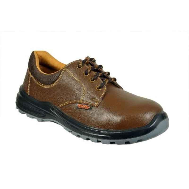 Coffer Safety CS-1046 Leather Steel Toe Brown Safety Shoes, Size: 8