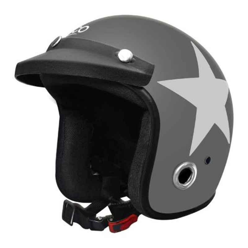 Habsolite HB-ESGW Ecco Star Grey & White Open Face Helmet with Detachable Cap & Adjustable Strap, Size: M