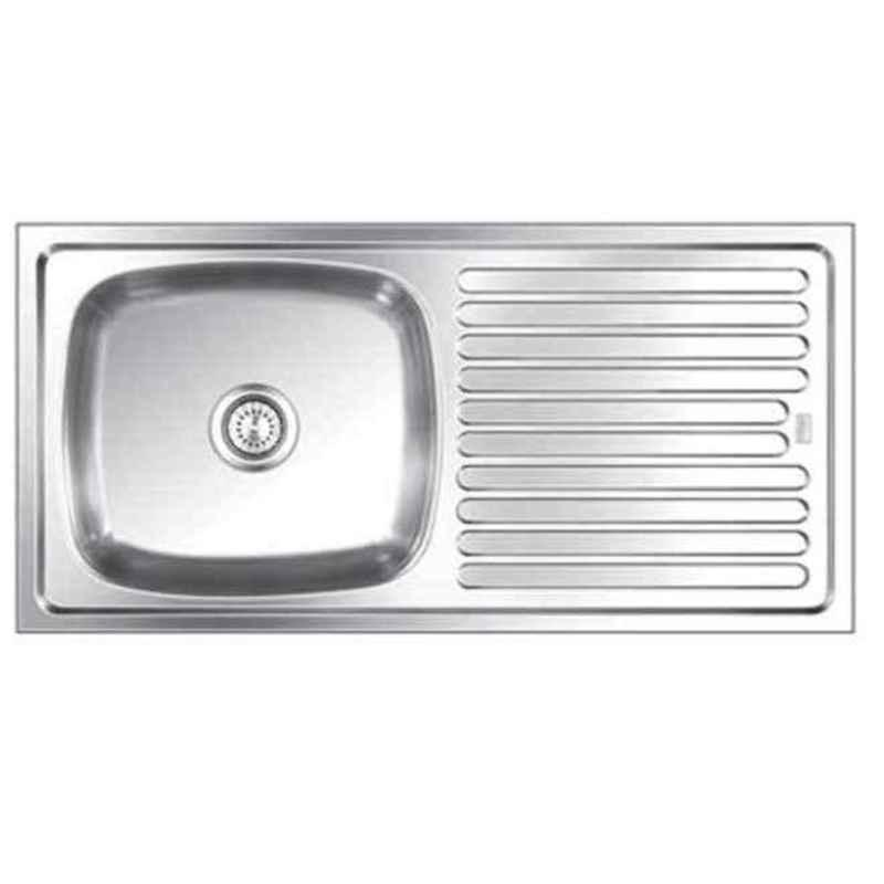 Apollo 37x18x8 inch Stainless Steel Single Bowl Kitchen Sink with Drain Board, SSDB-114B