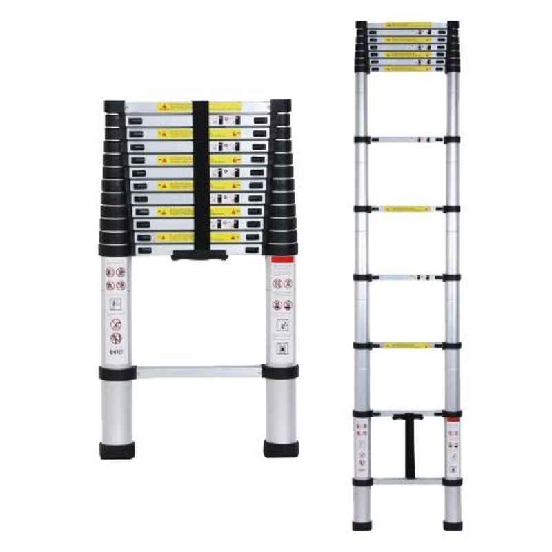Champion 16.5ft 13 Steps Aluminium & PVC Ultra-Stable Silver & Black Folding Telescopic Ladder