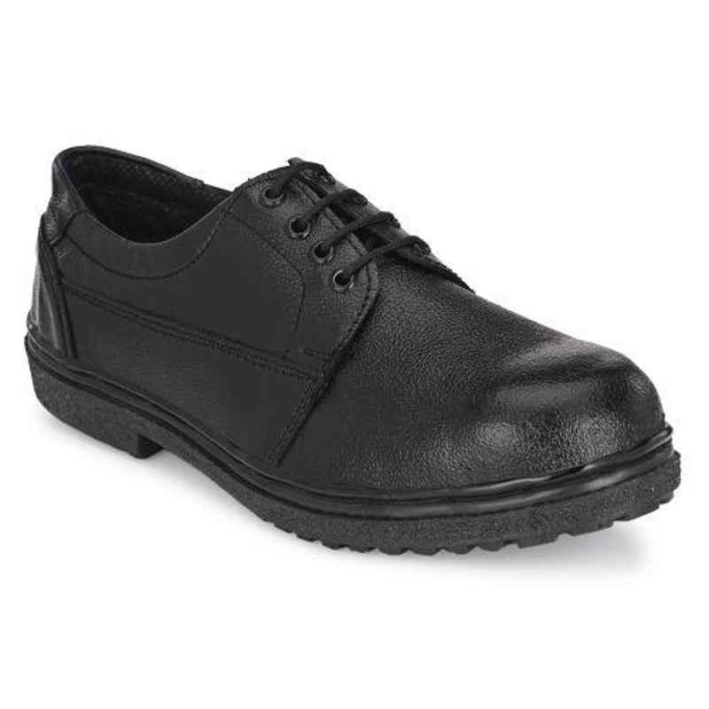 ArmaDuro AD1010 Leather Steel Toe Black Safety Shoes, Size: 9