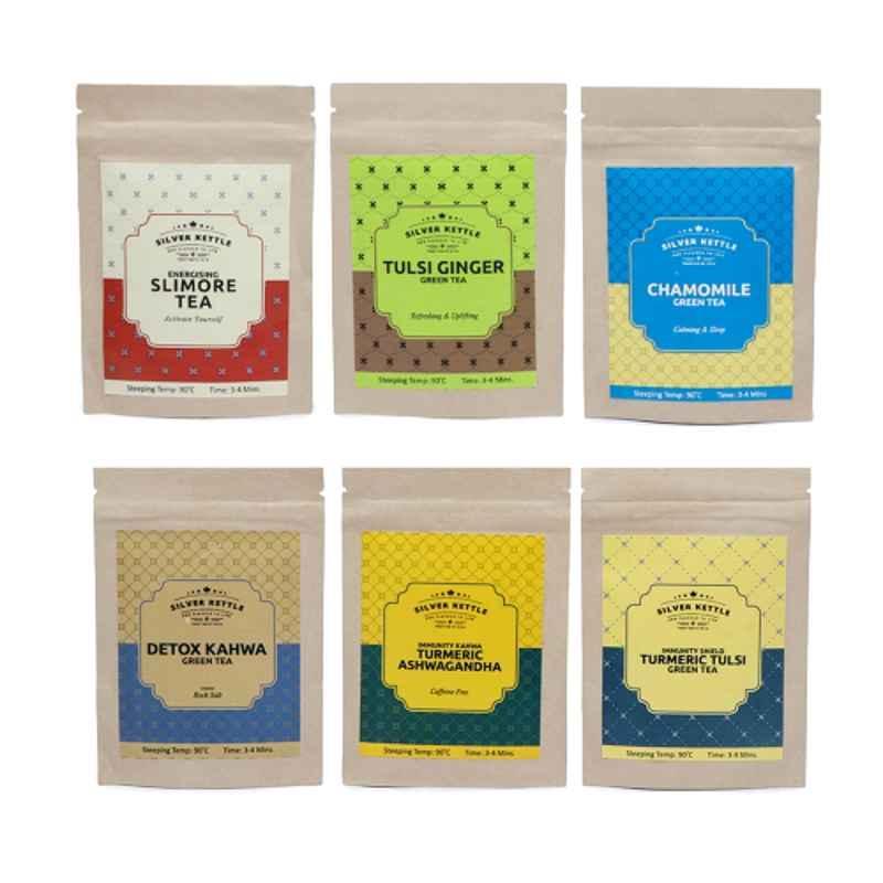 Silver Kettle 6 Pcs 10g 100% Natural Immunity Booster Green Tea Set