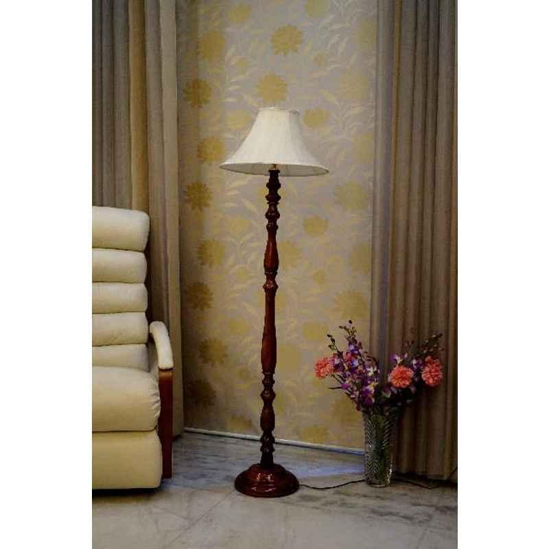 Tucasa Royal Brown Mango Wood Floor Lamp with Off White Conical Polycotton Shade, WF-94