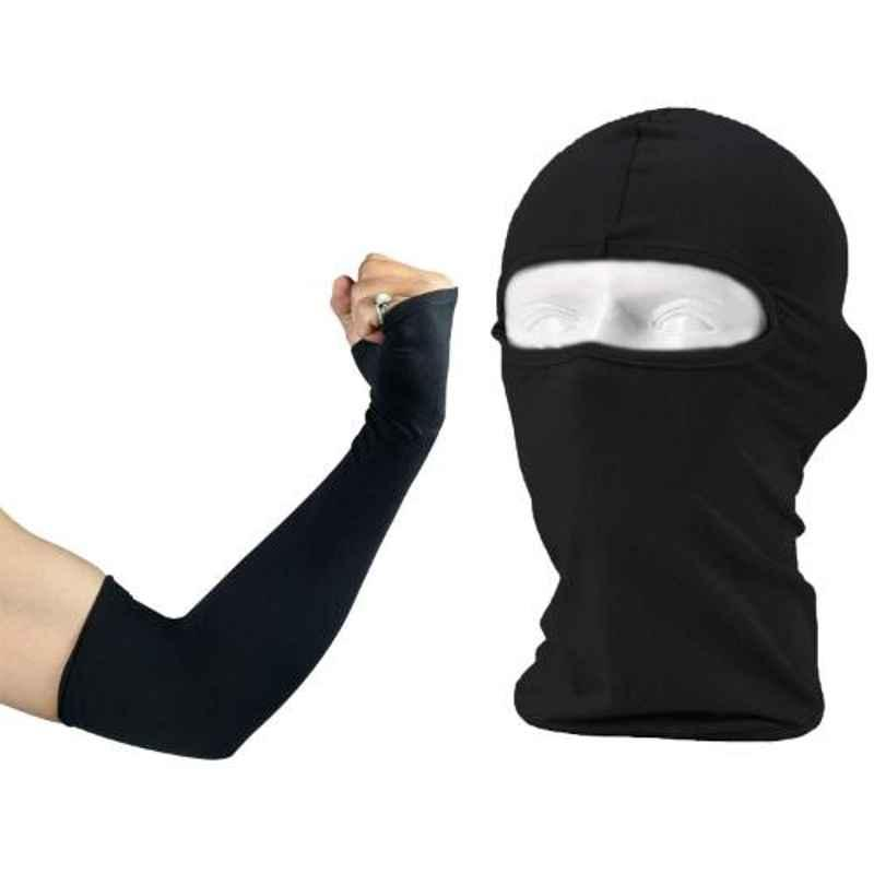 AllExtreme EXFMHS2 Black Arm-Elbow Sleeves with Unisex Full Face Cover Anti Pollution Mask