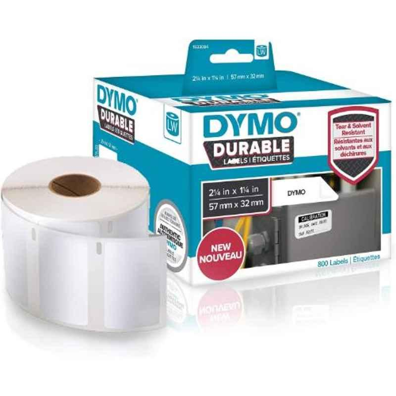 Dymo 1933084 2.25x1.25 inch White Direct Thermal Durable Plastic Label Writer Roll, Capacity: 800 Labels