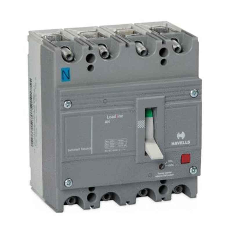 Havells 10kA 100A 415V Four Pole GS FT-FM MCCB, IHLGSF0100