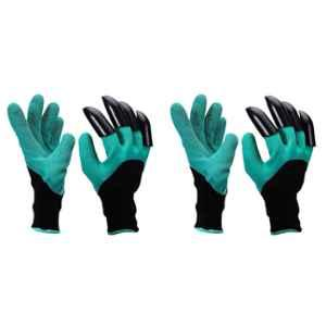 Multispace Green Polyester Garden Gloves Pair with In-built Claws (Pack of 2)