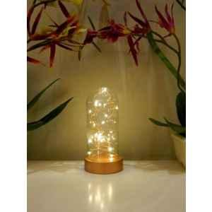 Tucasa Wooden Battery Operated LED Table Lamp with Brown Glass Shade, P3-A
