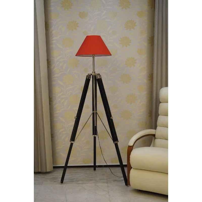 Tucasa Mango Wood Black Tripod Floor Lamp with Polycotton Red Shade, P-137