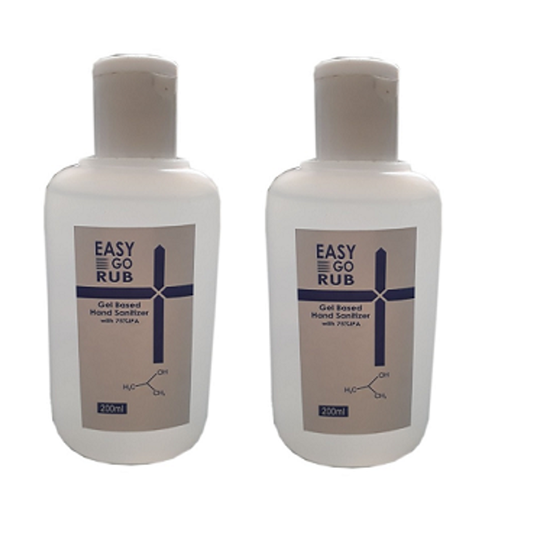 Easy Go Rub 200ml 75% Isopropyl Alcohol (IPA) Gel Based Hand Sanitizer (Pack of 2)