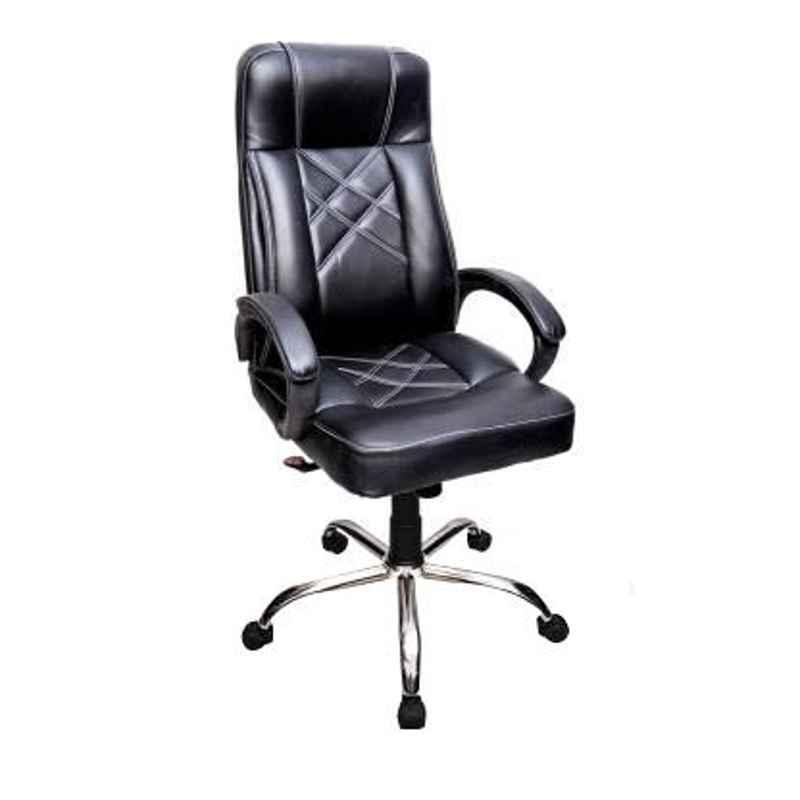 Mezonite High Back Black Leatherette Office Chair, KI 203 (Pack of 2)