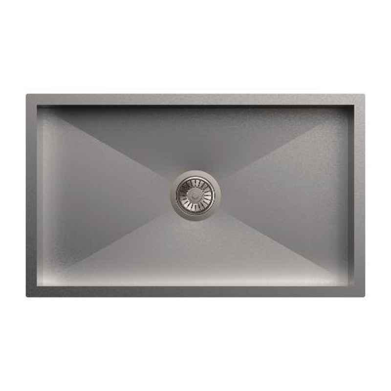 Carysil Quadro Single Bowl Stainless Steel Matt Finish Kitchen Sink, Size: 30x18x8 inch