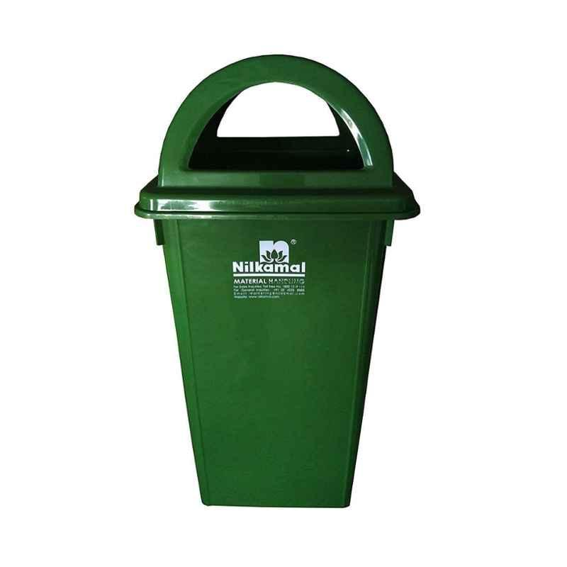 Nilkamal 80 Litre Green Virgin Plastic Dustbin, RFLB80L1, Dimension: 75x43x43 cm (Pack of 2)