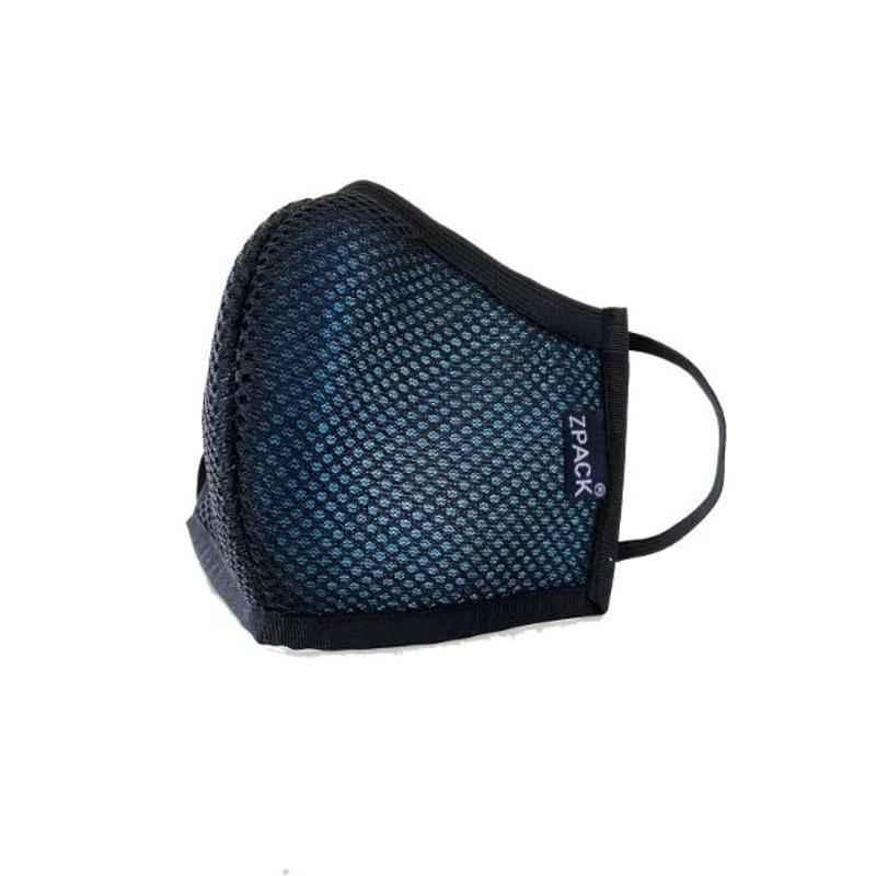 Zpack Prima Large Black 4 Layers Mesh, Spunbonded, Melt Blown & Cotton Reusable Face Mask