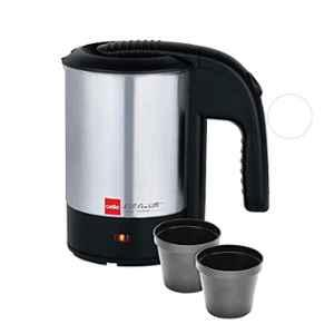 Cello Quick Boil 700 1000W 0.5L Stainless Steel Black & Silver Electric Kettle with 2 Travel Cups