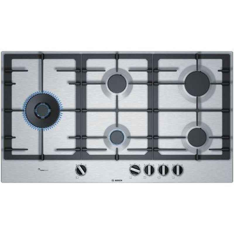 Bosch Serie-6 90cm 5 Burner Auto Ignition Stainless Steel Gas Hob, PCS9A5C90I